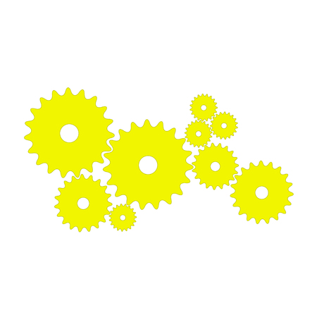 Gears in yellow design on white background