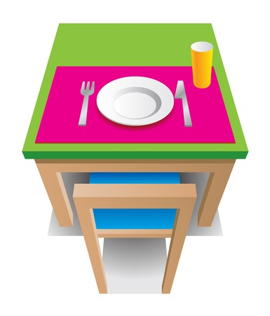 Green table with chair, cup, plate, knife and fork Vector