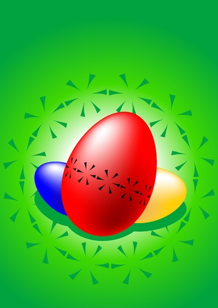 The picture of three stylized colored Easter eggs Stock Vector - 12497483
