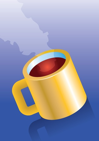 empowerment: Figure yellow cup on blue background