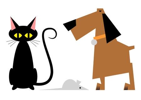 Die einfache stylize Bild von Katze, Hund und Maus Standard-Bild - 12820713