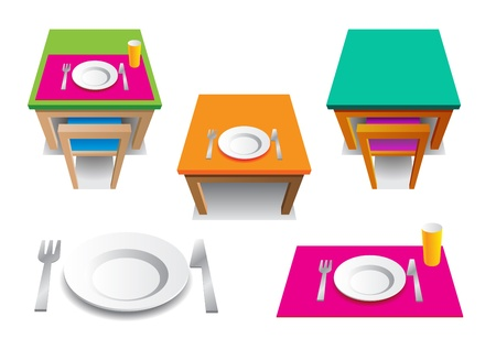 angled: The icons set of simply picture with plate, cup, knife and fork