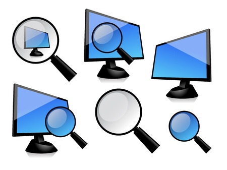 spying: The simply image of monitor with magnifier