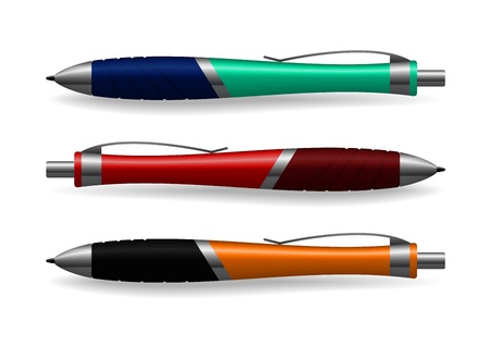 The realistic picture of three colour pens