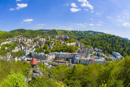 가장 위대한 체코 온천 마을 - 카를로 비바리 - 체코 스톡 콘텐츠