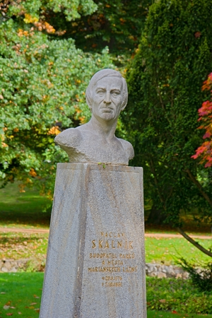 Autumn in the Central Park - art gardener and botanist Vaclav Skalniks bust in Mari?nsk? L?zn? (Marienbad) - great famous Bohemian spa town in the western part of the Czech Republic (Carlsbad region)