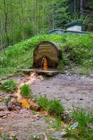 Mineral water spring (Balbins Spring - Balbin Spring) in the spa forest near the spa town Marianske Lazne (Marienbad) Stockfoto