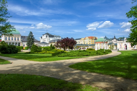 Center of spa town Frantiskovy Lazne (Franzensbad) close to historical town Cheb - western part of Czech Republic (district Karlovy Vary) 스톡 콘텐츠