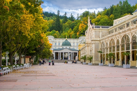 Main colonnade and Singing fountain in Marianske Lazne (Marienbad) - great famous Bohemian spa town in the western part of the Czech Republic (Carlsbad region)