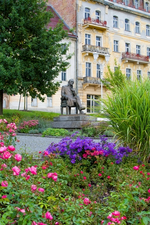 Goethe square and spa public park - center of Marianske Lazne (Marienbad) - great famous Bohemian spa town in the western part of the Czech Republic (Karlovy Vary region)