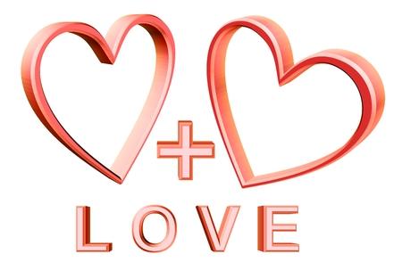 equals: Paar rosa Herzen entspricht Liebe Illustration
