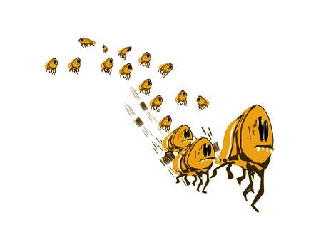fleas: A group of fleeing from danger fleas
