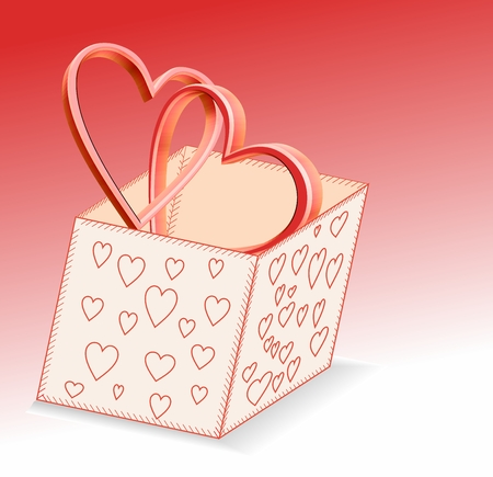 are joined: Joined gold hearts in a gift box Illustration