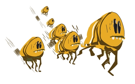 A group of fleeing from danger fleas
