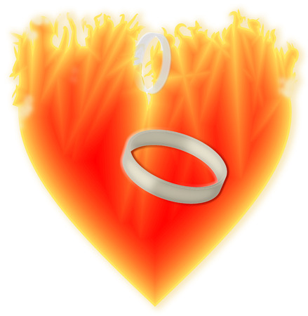 lovestruck: Symbol burning heart goodbye to segregate.