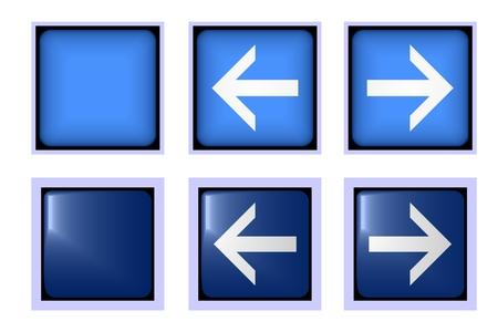 button front: Square blue button front and back for various applications