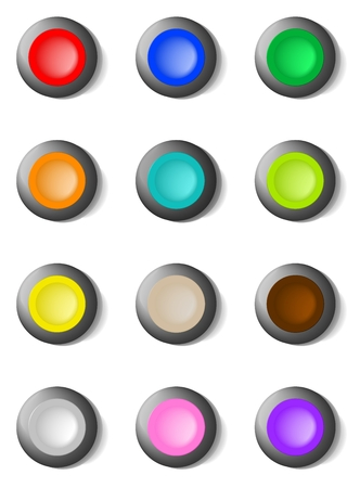 Set of colorful round buttons on a metal hoop for various applications Vector