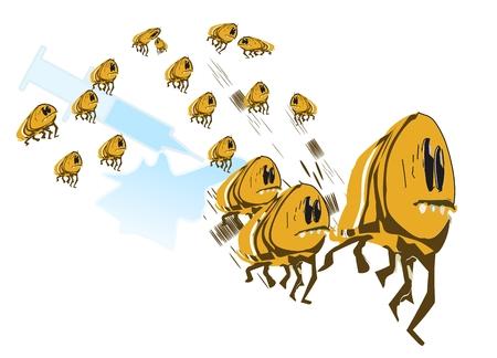 wścieklizna: Pchły Grupa ucieka przed zastrzyki szczepionki Ilustracja