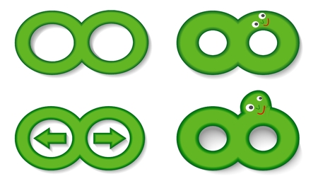 forwards: Infinity symbol set used as a key forward, back, cartoon