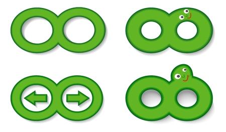 backwards: Infinity symbool set gebruikt als een belangrijke vooruit, terug, cartoon