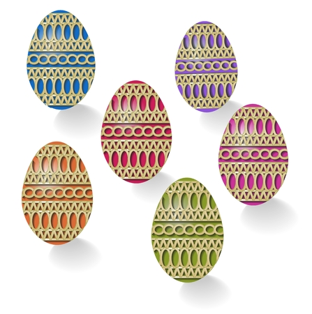 Group Easter eggs decorated with straw Vector