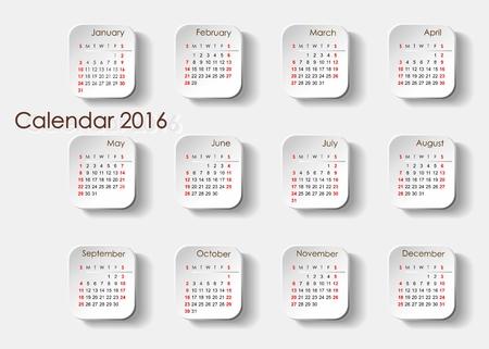 month 3d: 3d color calendar month are on each loop Separate tiles 2016 Illustration