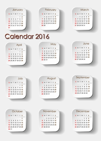 planning calendar: Planning calendar 2016 portrait. Individual months are particularly separate tile Stock Photo