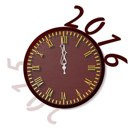 wooden clock: Wooden clock as a symbol of the beginning of 2016