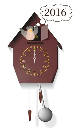 orologi antichi: Il nuovo 2016 vi augura cuculo di orologi antichi Vettoriali