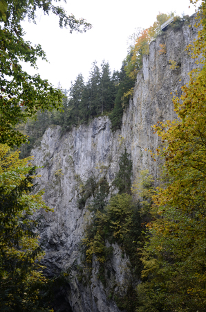 the deepest: Abyss Macocha is deepest chasm in Central Europe, the picture is the central rock. Stock Photo