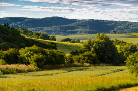 The hilly foothill scenery in late spring to Moravia in the Czech Republic