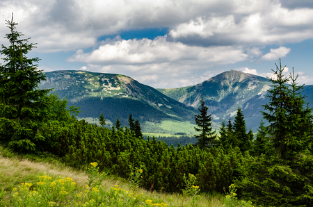 sudetes: Ridge with the Highest Peak Snezka Giant Mountains National Park in the Czech Republic Stock Photo