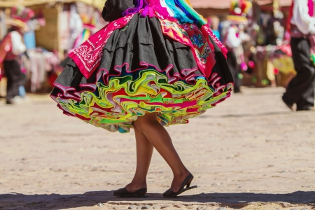 Colorful skirt during a festival on Taguile island, Peru, Bolivia