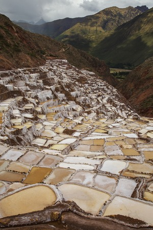 View of Salt ponds, Maras, Peru, South America with Andes and cloudy sky in the background