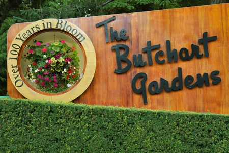 Welcome sign in Butchart gardens