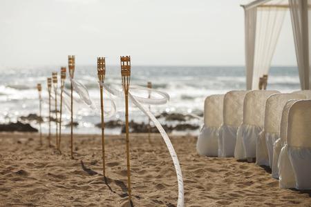 Beach huwelijksceremonie Stockfoto