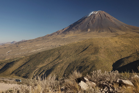 active volcano: Not typical view of active volcano Misti, Arequipa, Peru Stock Photo