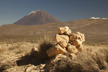 active volcano: Hike to active volcano Misti, Arequipa, Peru Stock Photo