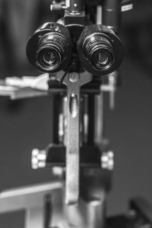 optometrist: Medical optometrist equipment used for  eye exams