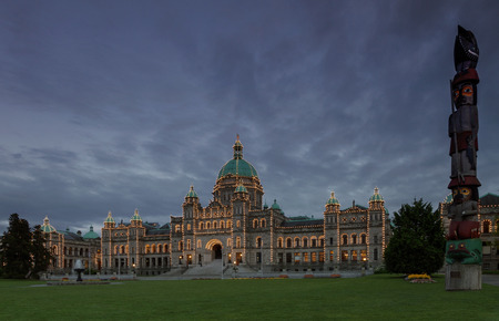 victoria bc: Detail of evening view of Government house in Victoria BC using long exposure.