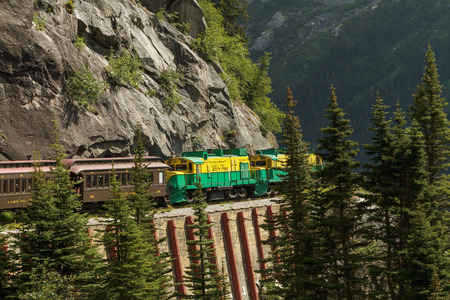 mining ships: The port of Skagway is a popular stop for cruise ships, and the tourist trade is a big part of the business of Skagway. The White Pass and Yukon Route narrow gauge railroad, part of the areas mining past, is now in operation purely for the tourist trade  Editorial