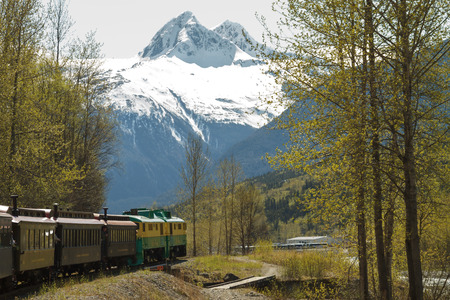 mining ships: SKAGWAY, ALASKA, USA - MAY 14 - The port of Skagway is a popular stop for cruise ships, and the tourist trade is a big part of the business of Skagway. The White Pass and Yukon Route narrow gauge railroad, part of the areas mining past, is now in operati Editorial