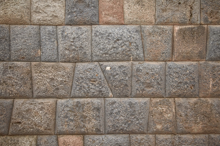 pisac: Detail of Inca wall in city of Cuzco in Peru