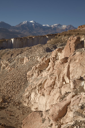 leading light: The famous sillar stone quarry, Peru. A light coloured volcanic rock used in many famous colonial buildings in Arequipa, leading to the name The White City.