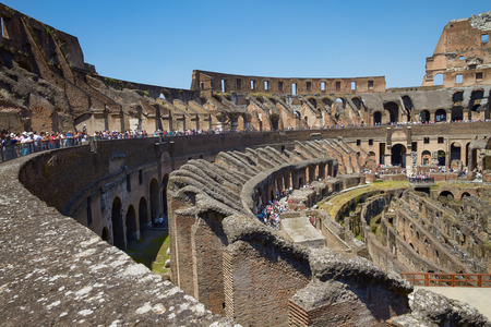 visiting: Tourists Visiting Colosseum or Coliseum in Rome Italy
