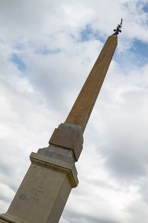 monti: Egyptian Obelisk in front of Twin Belfries of Trinita dei Monti Renaissance Church in Rome Italy Stock Photo