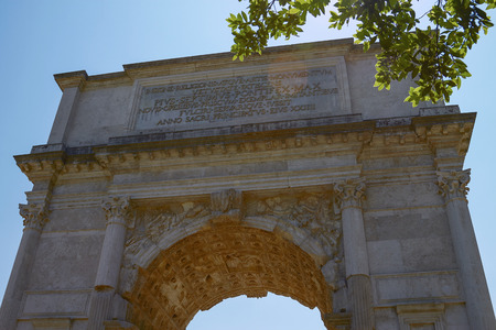 emporium: The Triumphal Arch of Titus (Arco di Tito) is a 1st-century honorific arch, located on the Via Sacra, just to the south-east of the Roman Forum, Rome. Spoils of Jerusalem relief on the inside arch.