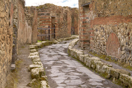 remains: Remains of the Street in Pompeii Italy.