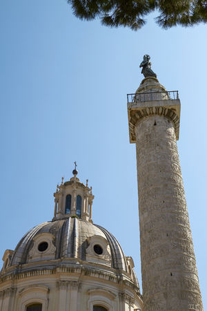 forums: Old Monument and Column of Trajan in the Imperial Forums in Rome Italy