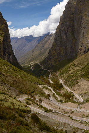 Serpentine Road for Crossing Andes Mountains between Peru and Bolivia.